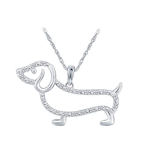 Elmas1/10 ct 10K White Gold Dachshund Dog Diamond Pendant Necklace for Teens Women