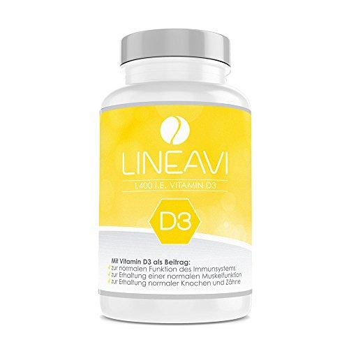 LINEAVI Vitamin D3, 35µg / 1.400 I.E. pro Kapsel, unterstützt das Immunsystem sowie den Erhalt normaler Knochen und Zähne, in Deutschland hergestellt, 120 Kapseln (4-Monatsvorrat)