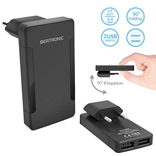 BERTRONIC Companion BC321E 2-Port USB Ladegerät im Slim-Design 2X USB mit 3.4A Einklappbarer Stecker für iPhone, Galaxy, iPad, Sony, HTC, Samsung, LG und viele mehr