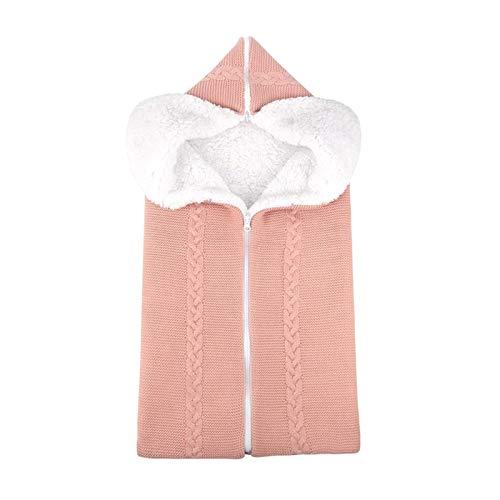 Baby Swaddle Manta Cochecito Envoltura para 0-12 Meses niñas, Bolsa de Dormir recién Nacido Suave Grueso vellón cálido cálido Manta (Color : Light Pink, Size : 70 * 40cm/27.6 * 15.7 Inch)