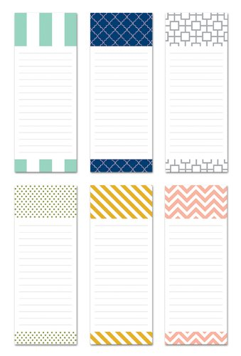 Note Card Cafe 6-Pack Magnetic Notepads | 50 Sheets per Pack | Modern Designs | 3.5 x 9 in | Memo Pad for Fridge, Planner, Notes, to-Do List, Grocery Shopping List, Recipes, School Reminders