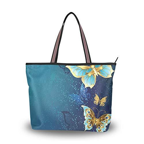 NaiiaN Bolso de mano para madre, mujer, niñas, señoras, bolsos de estudiante, correa ligera, bolso de mariposas doradas, bolsos de hombro para compras