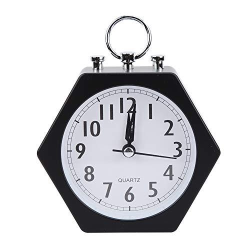 Reloj despertador, agradable para mesita de noche, portátil para viajes, despertador, reloj digital para mesa, escritorio, estantería, dormitorios(black)