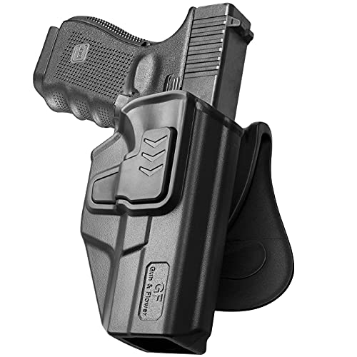 Compatible with Glock 19 Holster, Polymer OWB Holster Fit: G19 19X 23 32 45 (Gen 3 4 5)| Paddle Belt Holsters Outside Waistband | 9mm Gun Holsters Pistols Men/Women-Adj.Cant, Right Hand