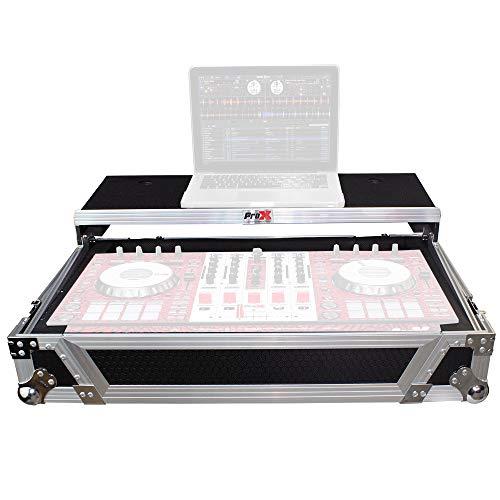 ProX XS-DDJSX WLT Flight Case for Pioneer DJ DDJ-SX DDJ-RX & Denon MCX7000 With Sliding Laptop Shelf and Wheels - Silver on Black Design