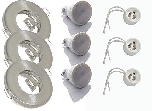 3er Set Einbaustrahler IP65 Optik: Edelstahl gebürstet Bad | Dusche | Sauna | inkl. GU10 5Watt LED Leuchtmittel 3000Kelvin (warm-weiß) 450Lumen Milchglas (Leuchtmittel austauschbar) | Einbauleuchten Edelstahl lackiert rostfrei
