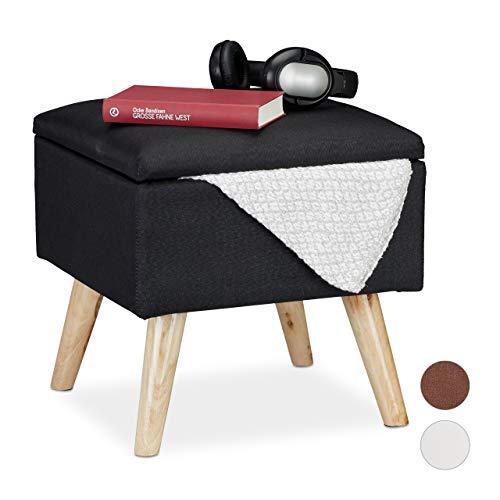 Relaxdays Hocker mit Stauraum, Kunstleinen-Bezug, gepolstert, Holzbeine, Fußhocker mit Deckel, HBT: 40x40x40 cm, schwarz, 1 Stück