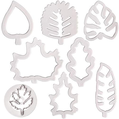 BakingWorld Leaf Cookie Cutter Set - 4 Pieces Tropical Hawaiian Palm Leaves and 4 Pieces Fall Leaves Plastic Embossing Mold for Gum Paste Sugar Craft Candy Fondant Cake Decorating(Set of 8)
