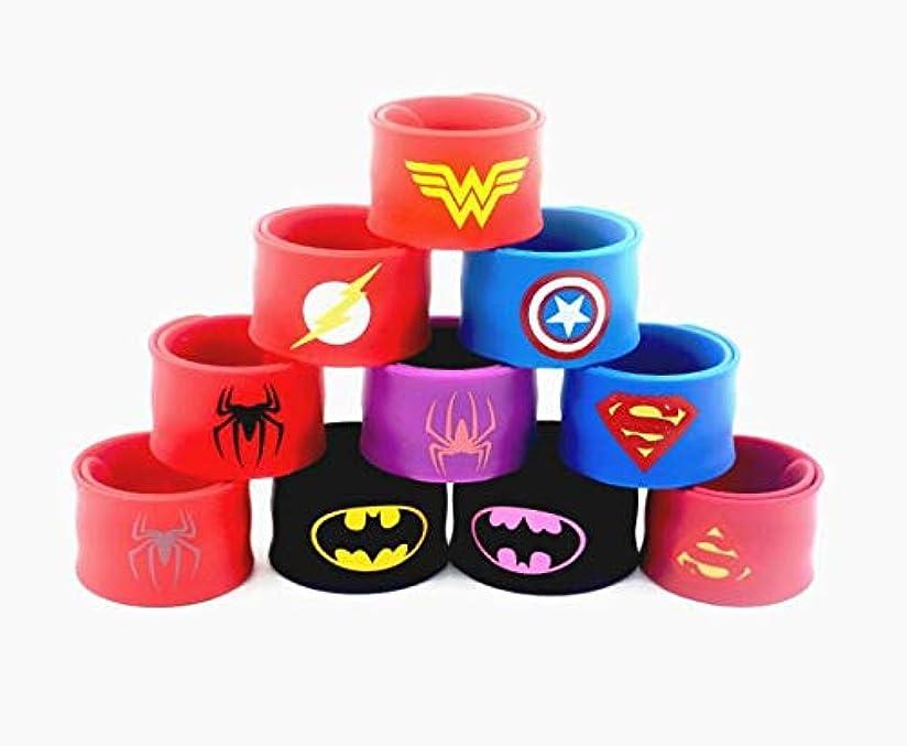 一定本質的にバイバイGNEGNI 9個入り シリコン スーパーヒーロー スラップブレスレット マーベル アベンジャーズ キャプテンアメリカ スパイダーマン スーパーマン バットマン フラスコ - USストック
