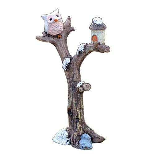 Mini Resin Tree Branch Owl Micro Landscaping Garden Ornament Bonsai Doll House Outdoor Decor - Grey Durable and Practicalsecurity