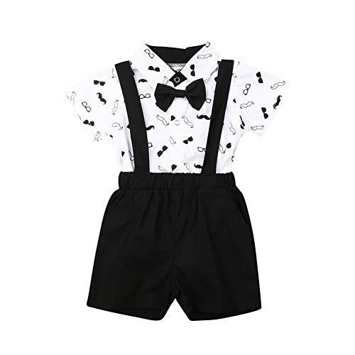 Baby Jungen Kurzarm Hemd + Kurze Hosen Set Gentleman Suit Anzug T-Shirt Shorts Taufe Festlich Hochzeit Outfit 1-6 Jahre Junge Kinder Sommer Bekleidung Set (Brille&Bart, 0-6 Monate)