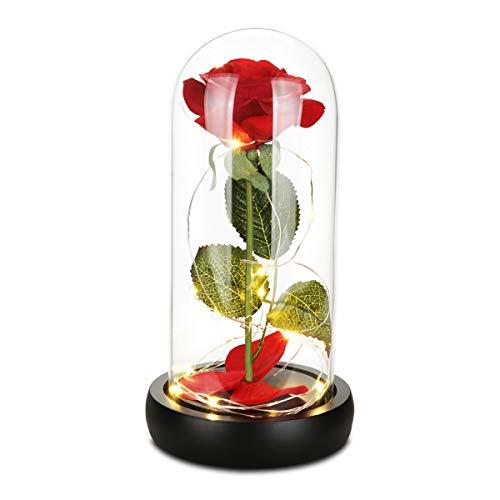 Rosa de la Bella y la Bestia, rosa romántica para mujeres, la nueva caja de regalo con forma de rosa en una cúpula de cristal con base de madera con luz LED para boda, día de San Valentín, para mujer