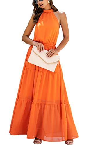 ECOWISH Women Dress Halter Neck Boho Floral Print Sleeveless Casual Backless Maxi Dresses with Belt 035 Orange Small