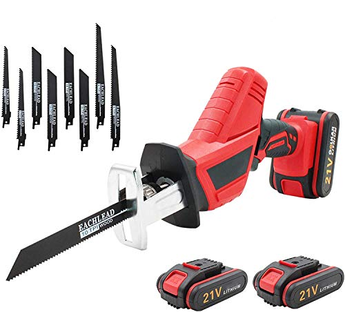 YASSIMY 21V Cordless Reciprocating Saw with 2 Rechargeable Li-ion Batteries, UK Plug Charger, Saw Blades, Carrying Case