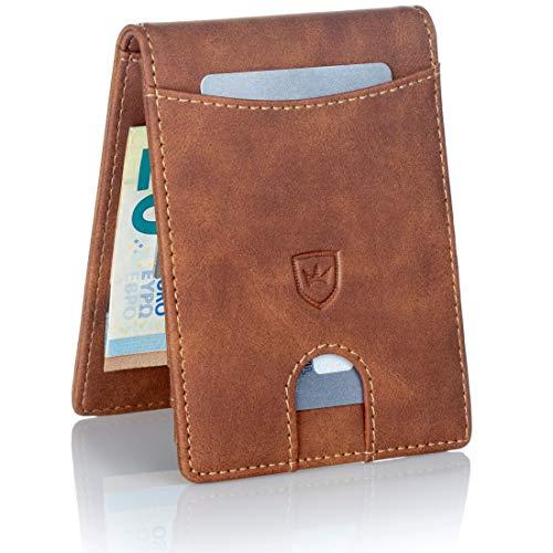 Kronenschein® Premium Herren Geldbörse mit Geldklammer Portemonnaie klein Geldbeutel Männer Portmonee RFID Portmonaise Slim Wallet Geldtasche Brieftasche Kreditkartenetui Kartenetui Geldclip