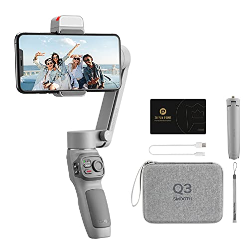 zhi yun Smooth Q3 Estabilizador para Moviles, 3 Ejes Plegable Estabilizador Gimbal para Smartphone hasta 280g para iPhone/Android(Combo Package)