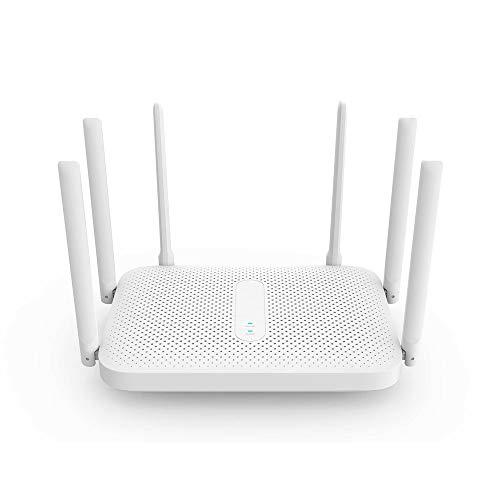 Routers 2.4G 5G Dual Band Wireless Router 6 * Antenas de Alta Ganancia de 128 MB OpenWRT Router WiFi Router 2033Mbps para televisores Inteligentes DVR (Color : White, Size : 128MB)