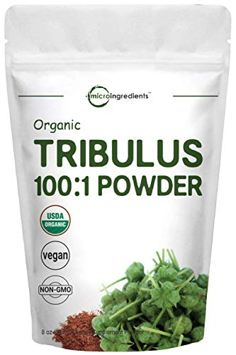Organic Tribulus Terrestris 100:1 Powder Extract, 8 Ounce (227 Grams), for Healthy Libido and Testosterone Levels, No GMOs and Vegan Friendly