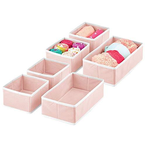 mDesign Juego de 6 Cajas para Guardar Ropa – Organizador de Armario en 2 tamaños para el Dormitorio y Cuarto Infantil – Cajas organizadoras de Fibra sintética con diseño Atractivo – Rosa y Bla