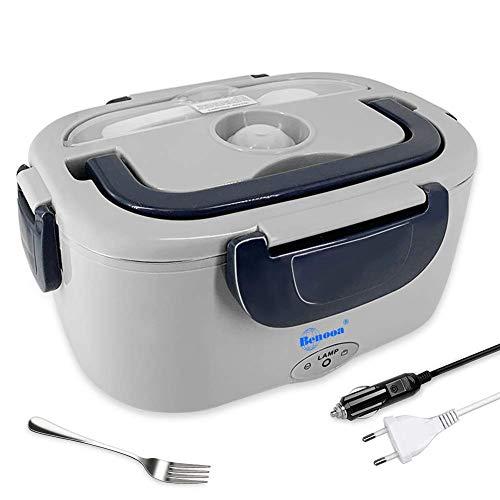 HJL Elettrico Lunch Box, 12V/V 2in 1Riscaldamento Lunch Box, con forchetta e Cucchiaio in Acciaio Inox Alimentare Contenitore per Interni/Esterni Grigio