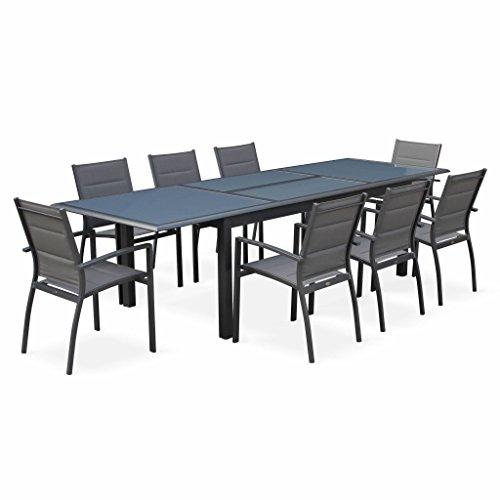Salon de Jardin Table Extensible - Philadelphie Gris Anthracite - Table en Aluminium 200/300cm, Plateau de Verre, rallonge et 8 fauteuils en textilène