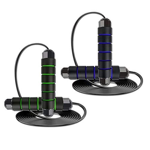 2 Stück Springseil, Rluobo Speed Rope Springseil mit Kugellagern 3M Länge Einstellbar, Jump Rope mit Rutschfesten Handgriffe, Rope Jump Ideal für Fitness & Training geeignet für Kinder und Erwachsene