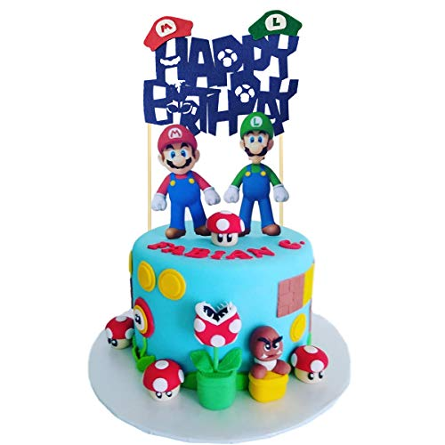 Super Mario Cake Topper, Super Mario Brothers themed party supplies, kids birthday cake decoration.