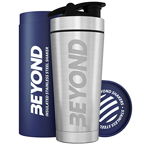 Beyond Fitness Premium Insulated Stainless Steel Protein Mixer Shaker Supplement Bottle - Metal and BPA Free in Brushed Steel
