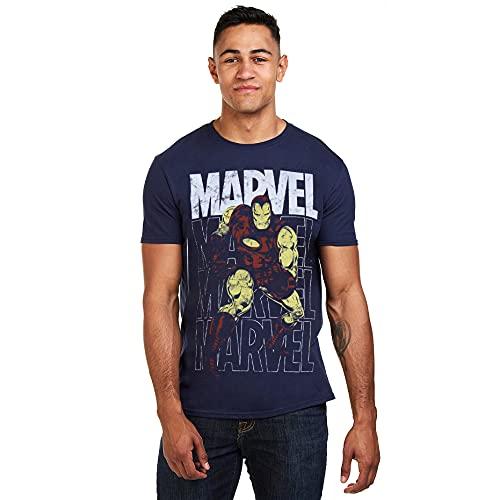 Marvel Iron Man Repeat Camiseta, Navy,...