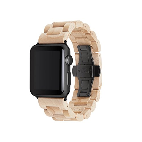 Woodcessories - Strap kompatibel mit Apple Watch Series 1, 2, 3, 4, 5, 6, SE aus Echtholz - EcoStrap (Ahorn/schwarz, 38/40 mm)