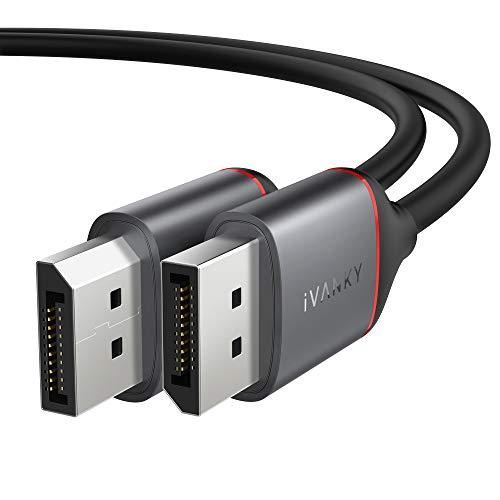 DisplayPort Kabel, iVANKY Kabel Displayport 2M (4K@60Hz, 2K@165Hz und 2K@144Hz), Displayport Kabel 144hz mit FreeSync, G-Sync, Displayport 1.2 geeignet für PC, TV, Monitor und Grafikkarten
