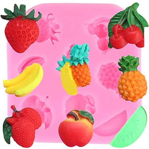 PJTL Molde de Silicona de Fresa de Fruta 3D, Molde de Chocolate de Manzana y plátano, Herramienta de decoración de Pasteles, Molde de Arcilla polimérica