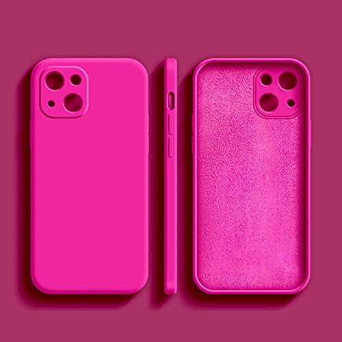 HHZY Funda Compatible con iPhone 13 Pro MAX Carcasa de Goma de Gel de Silicona Líquida Ultra Fina con Protector de Lente de Cámara Cubierta Anti Choque con Forro de Microfibra,Rose Red,For 12 Pro