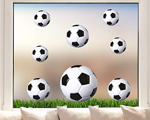 Pixblick Fenstersticker - Fußbälle auf Fußballrasen