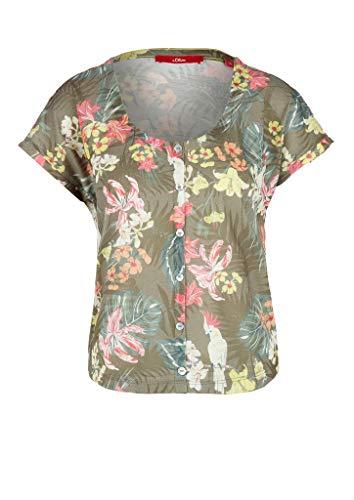 s.Oliver Damen 120.10.004.12.130.2037084 T-Shirt, 78B1 Khaki AOP, 42