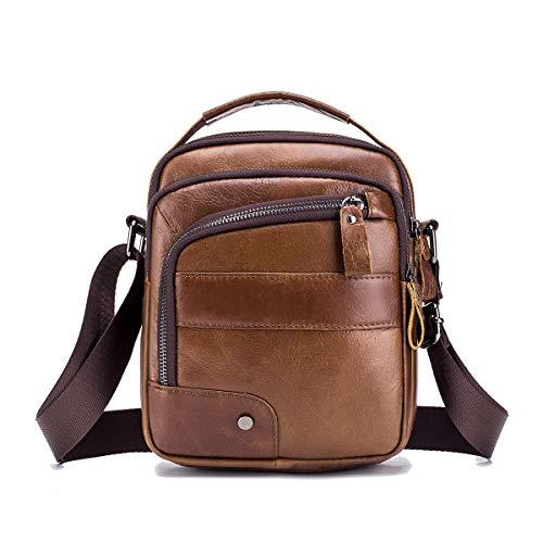 MANNUOSI Shoppers y bolsos de hombro piel autentica Bolsos para hombre vintage Business Bolsos de mano casual Bolsos cruzados multifuncional Bolsos marrón