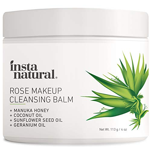 Rose Cleansing Balm – Natural Facial Cleanser & Makeup Remover with Coconut Oil and Manuka Honey – Instantly Removes Waterproof Mascara & Face Makeup – Gently Double Cleanse and Purify Skin - 4 oz