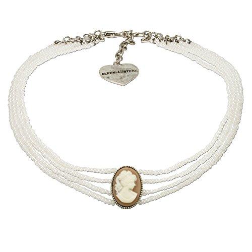 Alpenflüstern Trachten-Perlen-Kropfkette Gemme - Elegante Trachtenkette Damen-Trachtenschmuck, Filigrane Dirndlkette weiß DHK186