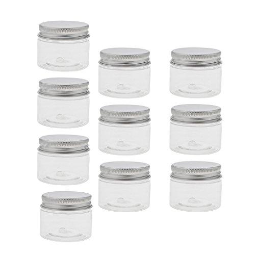 Sharplace 10 Pcs Pot Vide Rond en Plastique Transparent avec Couvercle Cosmetic Container Rangement pour Crèmes Stockage Onguents Toners - Taille Optionnelle - 40 ml