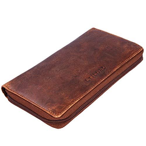STILORD \'Emilia\' Damen Portemonnaie Elegante Klassische Geldbörse groß aus echtem Rindsleder, Quer mit Reißverschluss Leder, Farbe:Kara - Cognac