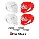 REFUN Bicycle Light - Front and Rear Silicone LED Bike Light Set - 2 High Intensity Multi-Purpose Water Resistant Headlight - 2 Taillight for Cycling Safety (2pcs Red & 2pcs White)