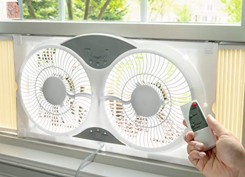 Portable Twin 9' Reversible Window Fan with Remote Control