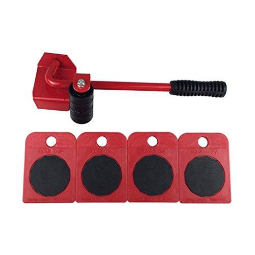Sistema de Movimiento de Muebles Duradero con Herramienta de elevación y utilidades domésticas de 4 Ruedas (Rojo)