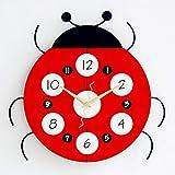 WJXBoos Coccinelle Pendule Murale, Bois Dessin Animé Enfants Horloge Décorative Sécurité Mute Horloge à Quartz Handmade Bois Et Métal Suspension Horloge-Rouge 12 inch (30 Cm)