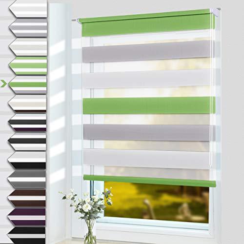 OUBO Doppelrollo Klemmfix ohne Bohren 95 x 150 cm (BxH) Grün-Grau-Weiß Fenster Duo Rollo - lichtdurchlässig und verdunkelnd Wandmontage Deckenmotage Sichtschutz Rollo mit Klemmträgern