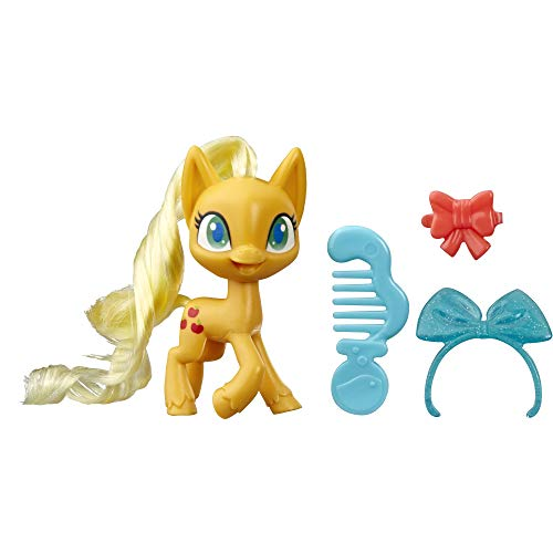 My Little Pony Applejack Potion Pony Figure -- 3-Inch Orange Pony Toy with Brushable Hair, Comb, and 4 Surprise Accessories