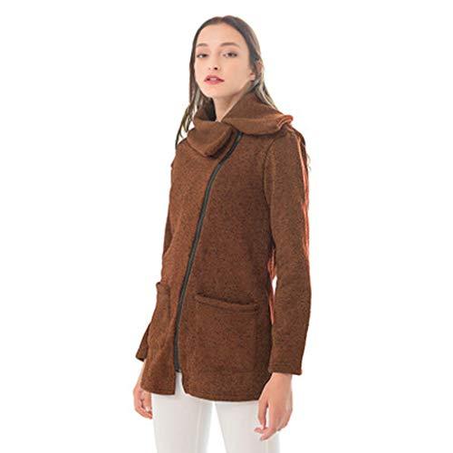 Xmiral Mantel Damen Oblique Reißverschluss Umlegekragen Jacke Warm Sweatshirt Große Größe Langarm Tunika Sweatjacke...