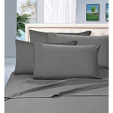 Thread Spread True Luxury 100% Egyptian Cotton 1000 Thread Count 4 Piece Sheet Set Dark Grey Queen