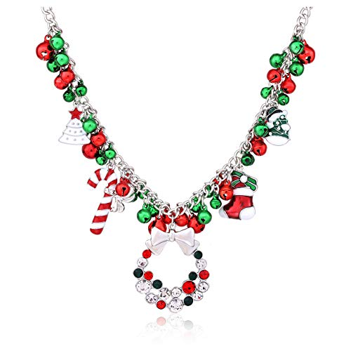 NLCAC Christmas Jingle Bell Necklace Women Christmas Ornament Charm Bib Statement Necklace Xmas Gift Jewelry Girls (Silver)