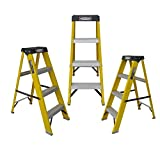 LADDERMAN 3-Step Trade FRP Self Supported Folding Type Electrical Shock-Free Fiberglass Safety Ladder; Yellow
